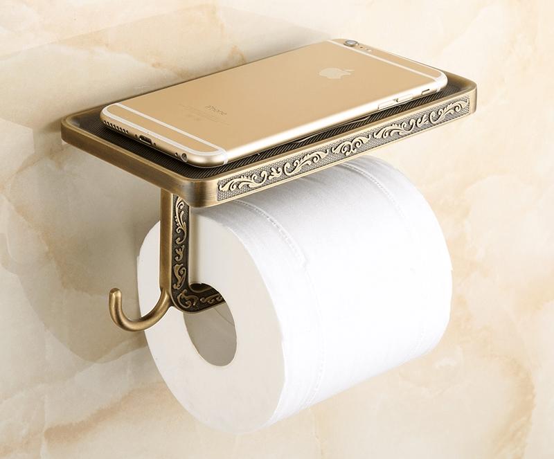 devidoir papier toilette avec porte téléphone