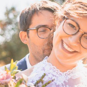 Portrait mariés dans la nature, découverte des mariés