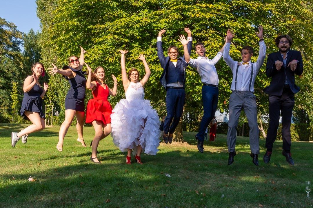 Photo des invités et mariés originale
