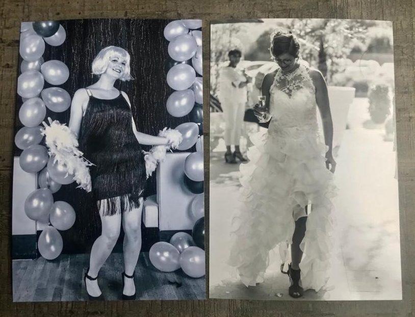 Comparaison de 2 noir et blanc, à gauche le noir et blanc imprimé sans les conseils de la photographe, à droite, une photo de mariage imprimée avec la qualité souhaitée