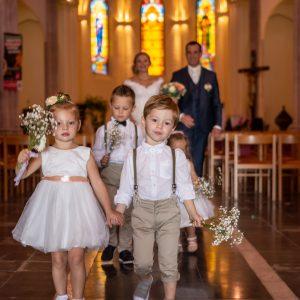 cortège d'honneur, enfants d'honneur, sortie de l'église